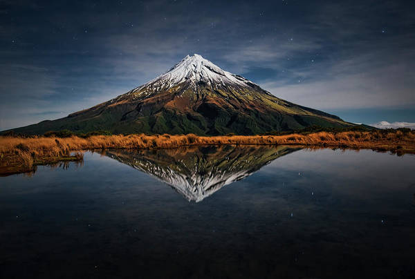 Mounted Photograph - Mount Taranaki - A Starry Night by Yan Zhang