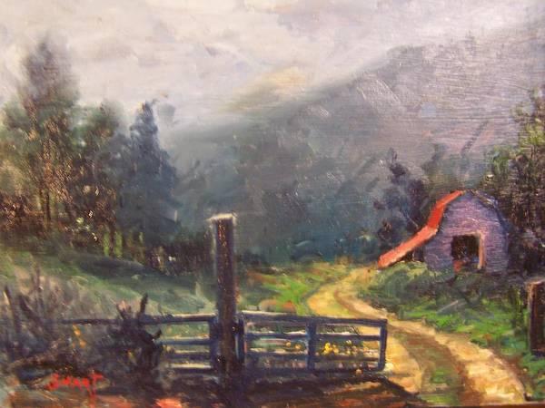 Sand Creek Painting - Mountain Barn by Dan Smart