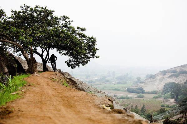Lima Photograph - Mountain Biker In Peru, Landscape by Dan Barham