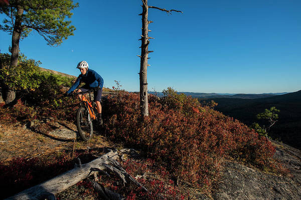 New Years Day Photograph - Mountain Biker On The Bare Granite by Joe Klementovich