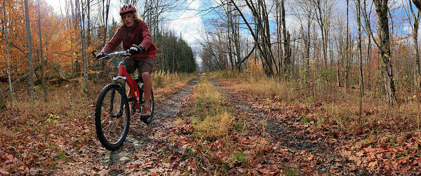 New Years Day Photograph - Mountain Biker Riding Through Autumn by Johnathan Ampersand Esper
