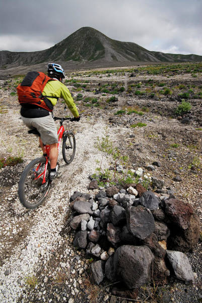 Gully Photograph - Mountain Biking At Mount. St. Helens by Rich Wheater