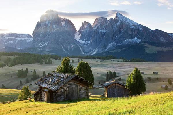 Alpine Photograph - Mountain Cabins, Seiser Alm Sassolungo by Peter Adams
