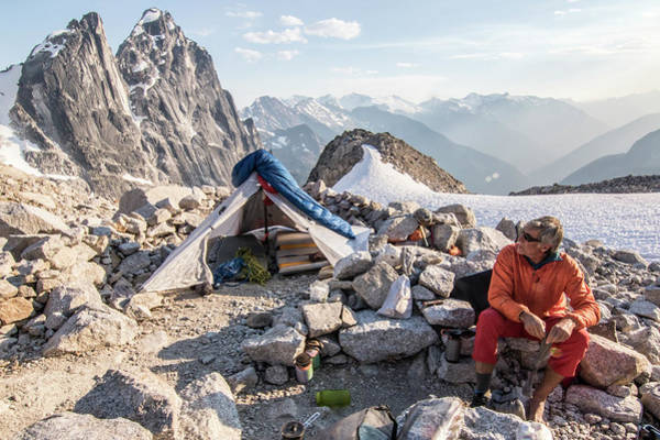 Bugaboo Photograph - Mountain Climber Sitting Near Tent by Suzanne Stroeer