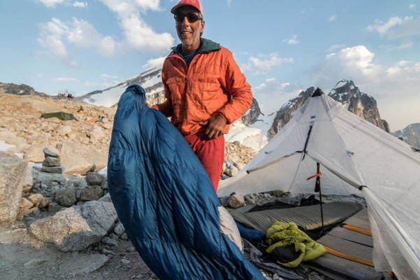 Bugaboo Photograph - Mountain Climber Standing Near Tent by Suzanne Stroeer