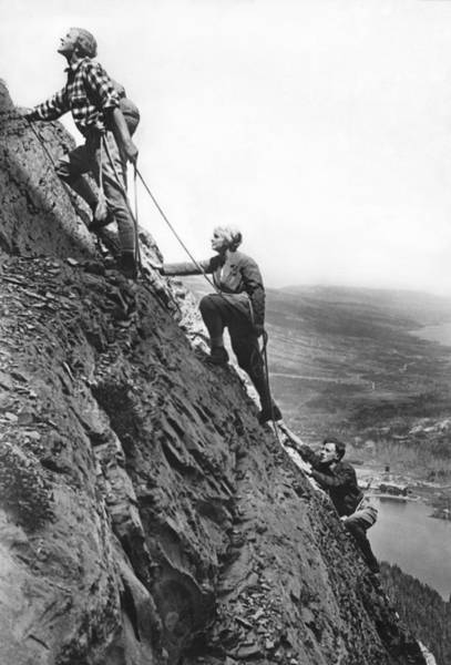 Wall Art - Photograph - Mountain Climbing In Glacier by Underwood Archives