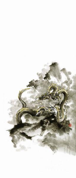 E Ink Wall Art - Painting - Mountain Dragon Sumi-e Ink Painting Dragon Art by Mariusz Szmerdt