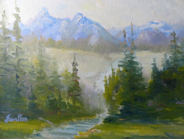 Painting - Mountain Evergreens by Judy Fischer Walton