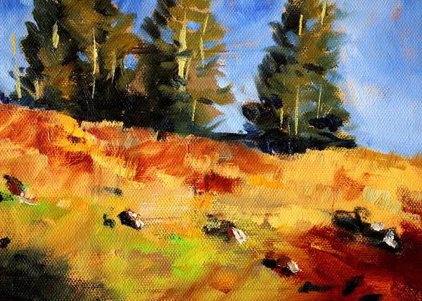 Central Oregon Wall Art - Painting - Mountain Hillside by Nancy Merkle
