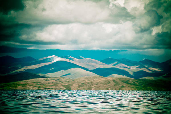 Mountain Lake In Tibet Manasarovar Art Print