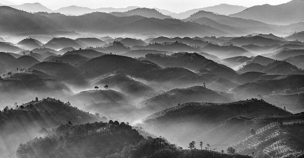 Photograph - Mountain Layers In Black & White by Thang Tat Nguyen