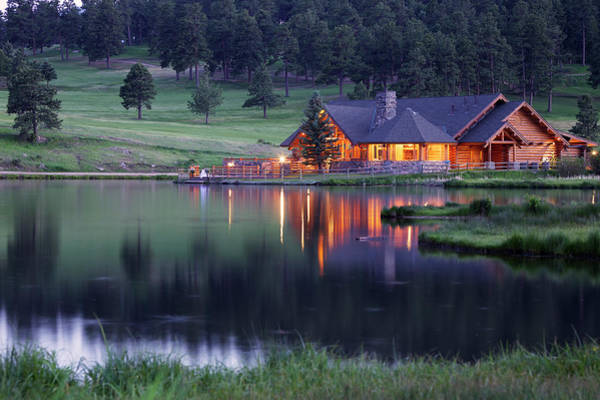 Water Photograph - Mountain Lodge Reflecting In Lake At by Beklaus
