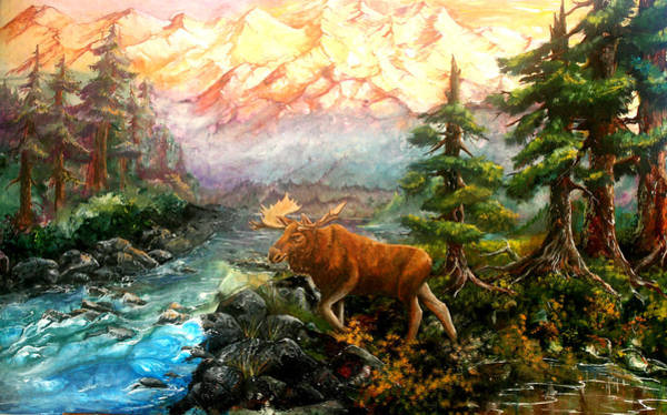 Painting - Mountain Moose by Sherry Shipley