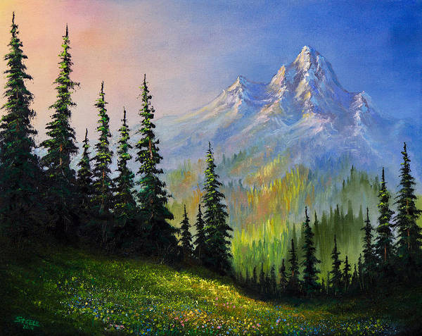 Wall Art - Painting - Mountain Morning by Chris Steele
