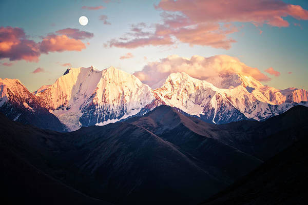 Climbing Photograph - Mountain Peak In Sunset With Moonrise by 4x-image