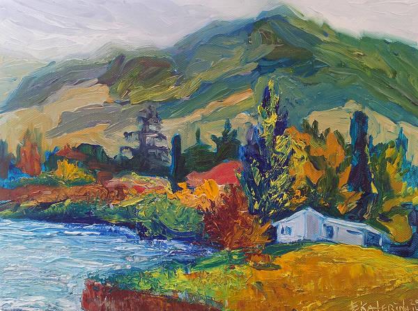 Mountain Painting Oil Landscape Ekaterina Chernova Art Print