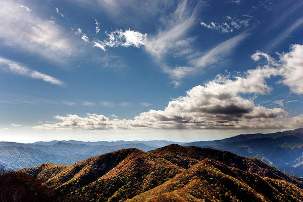 Nikko Photograph - Mountain Range Of The Autumn Background by All Rights Reserved