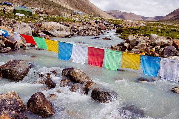 Mountain River And Buddhist Flags Lungta  Art Print