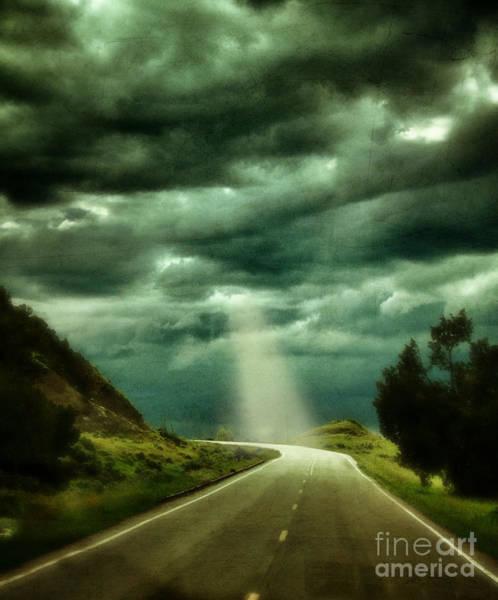 North Dakota Badlands Wall Art - Photograph - Mountain Road With Stormy Sky by Jill Battaglia