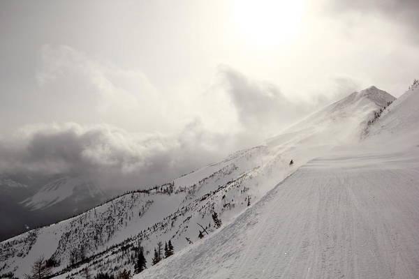 Photograph - Mountain Snow Storm Approaching Ski Run by Simply  Photos