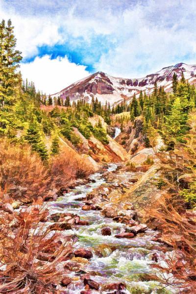 Digital Art - Mountain Stream Sketch by Rick Wicker