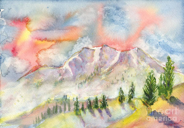 Painting - Mountain Sunset by Walt Brodis