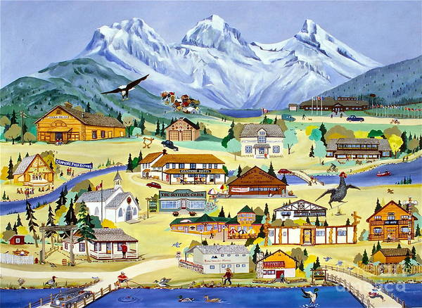 Art In Canada Painting - Mountain Town Of Canmore by Virginia Ann Hemingson