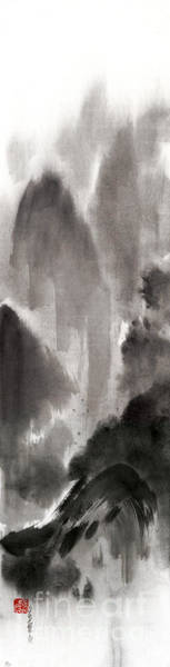 E Ink Wall Art - Painting - Mountain View Sky Snow And Clouds Landscape Sumi-e Original Ink Painting by Mariusz Szmerdt