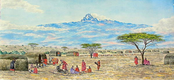 Painting - Mountain Village by Joseph Thiongo
