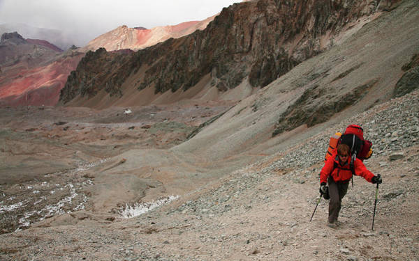 Mendoza Province Photograph - Mountaineer Hauling A Heavy Load by Johnathan Ampersand Esper