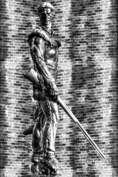 Photograph - Mountaineer Statue Bw Brick Background by Dan Friend