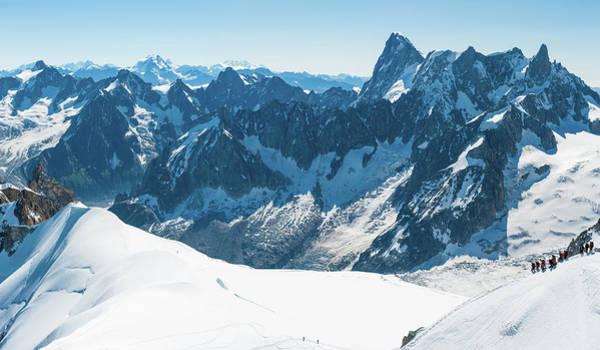 Chamonix Wall Art - Photograph - Mountaineers On Snowy Alpine Ridge by Fotovoyager
