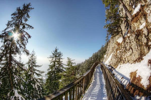 High Dynamic Range Imaging Photograph - Mountainside Walkway In The Alps by Davelongmedia