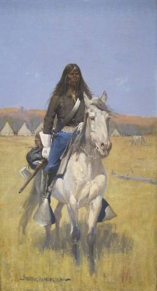 Indian Camp Painting - Mounted Indian Scout by Mountain Dreams