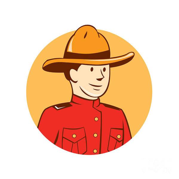 Mounted Digital Art - Mounted Police Officer Bust Circle Cartoon by Aloysius Patrimonio