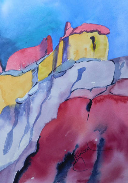 Elwood Blues Painting - Mountians At Ghost Ranch by Jann Elwood