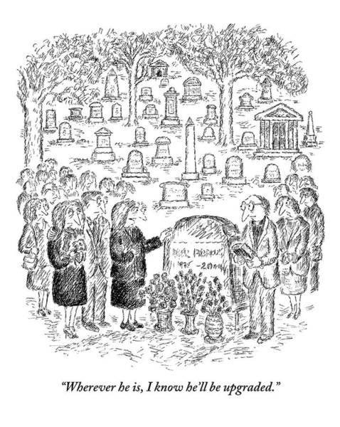 July 29th Drawing - Mourners Stand Around A Gravestone by Edward Koren