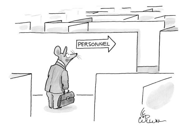 Personnel Drawing - Mouse In A Suit Stands In Front Of A Maze. An by Leo Cullum
