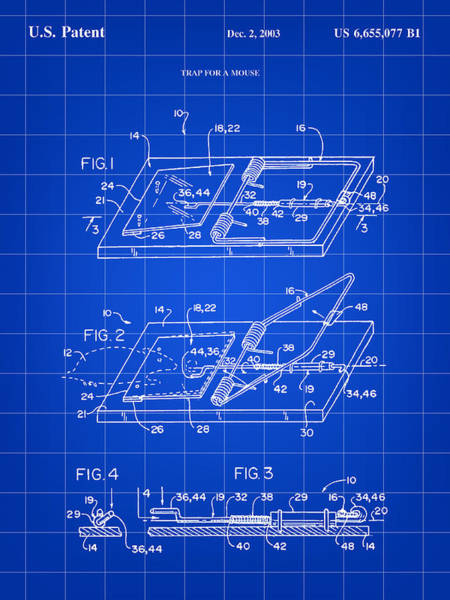 Conn Wall Art - Digital Art - Mouse Trap Patent - Blue by Stephen Younts