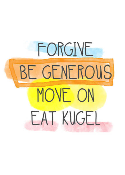 Jewish Art Wall Art - Painting - Move On And Eat Kugel by Linda Woods