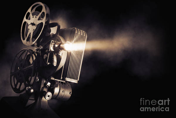 Film Industry Wall Art - Photograph - Movie Projector On A Dark Background by Fer Gregory