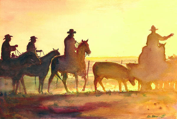 Cowboys Wall Art - Painting - Moving Cows by Don Dane