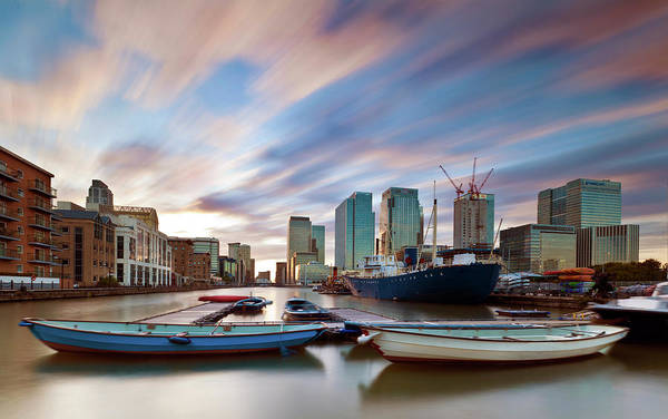 Quayside Photograph - Moving Skies At Canary Wharf by Esslingerphoto.com