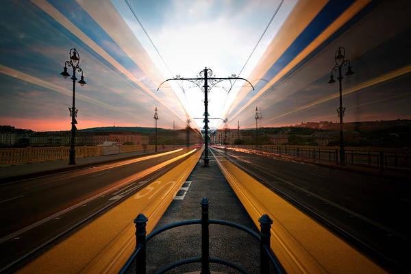 Passenger Car Photograph - Moving Trams On Margaret Bridge by Gehringj