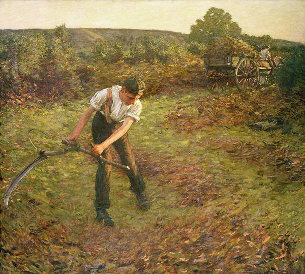 Trimming Painting - Mowing Bracken by Henry Herbert La Thangue