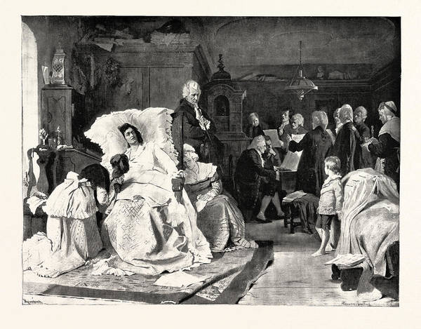 Summoning Wall Art - Drawing - Mozart Listening To His Friends, Who, Summoned By His Wife by English School