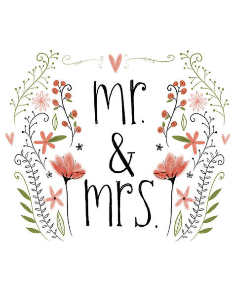 Wedding Gift Wall Art - Painting - Mr. & Mrs by Katie Doucette