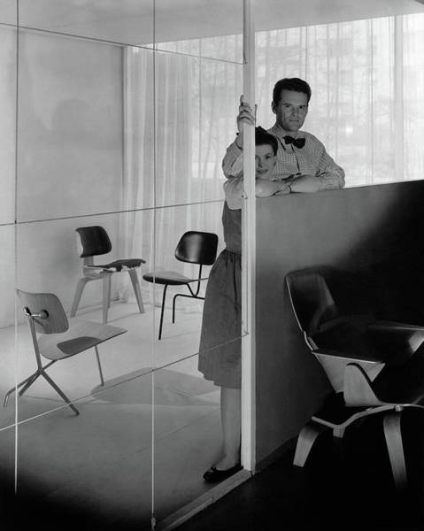 Mirror Photograph - Mr And Mrs Charles Eames At The Museum Of Modern by George Platt Lynes