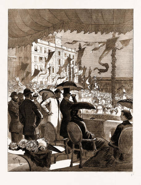 Gladstone Wall Art - Drawing - Mr. And Mrs. Gladstone Witnessing The Carnival Procession by Litz Collection