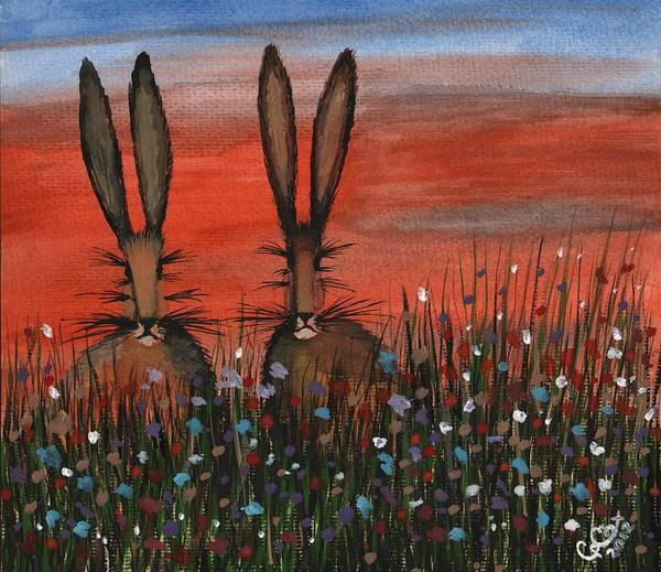 Chris Cox Painting - Mr And Mrs Hare by Chris Cox
